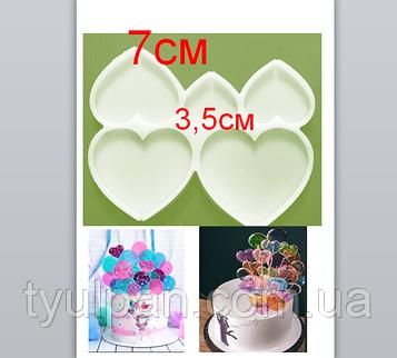 2D Форма силиконовая сердечки  молд для леденцов от 3,5 см до 7