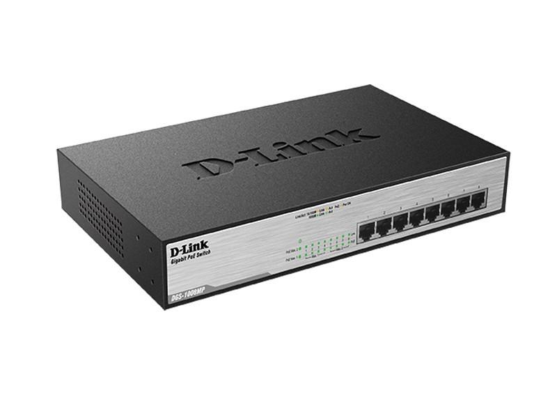 Коммутатор D-Link DGS-1008MP (8*GE PoE+, metall, 140W max)