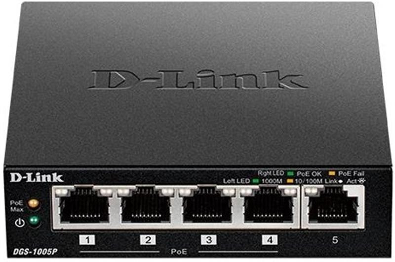 Комутатор D-Link DES-1005P (4xPoE, 1xUplink)