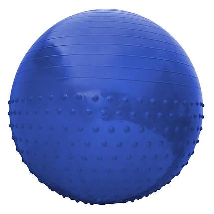 М'яч для фітнесу (фітбол) напівмасажний SportVida 65 см Anti-Burst SV-HK0292 Blue, фото 2