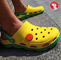 Кроксы сабо желтые / зеленая подошва. Размеры 36, 37, 38, 39, 40, 41, 42, 43, 44, 45, 46. JoAm 116113.