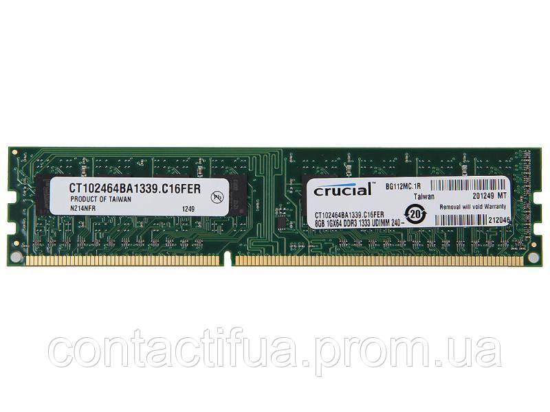 Оперативна пам'ять CRUCIAL DDR3 8Gb 1333MHz PC3-10600 (ct102464ba1339.