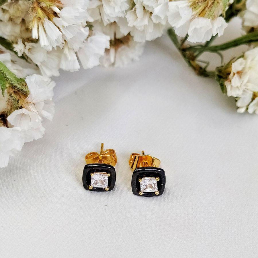 Серьги пусеты квадраты с черной керамикой 90 000 R2800