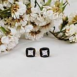 Серьги пусеты квадраты с черной керамикой 90 000 R2800, фото 2