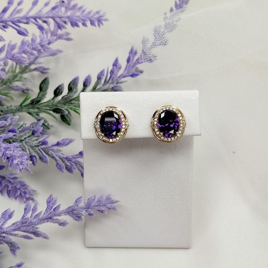 Серьги классические с фиолетовым камнем  106  4500