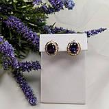 Серьги классические с фиолетовым камнем  106  4500, фото 2