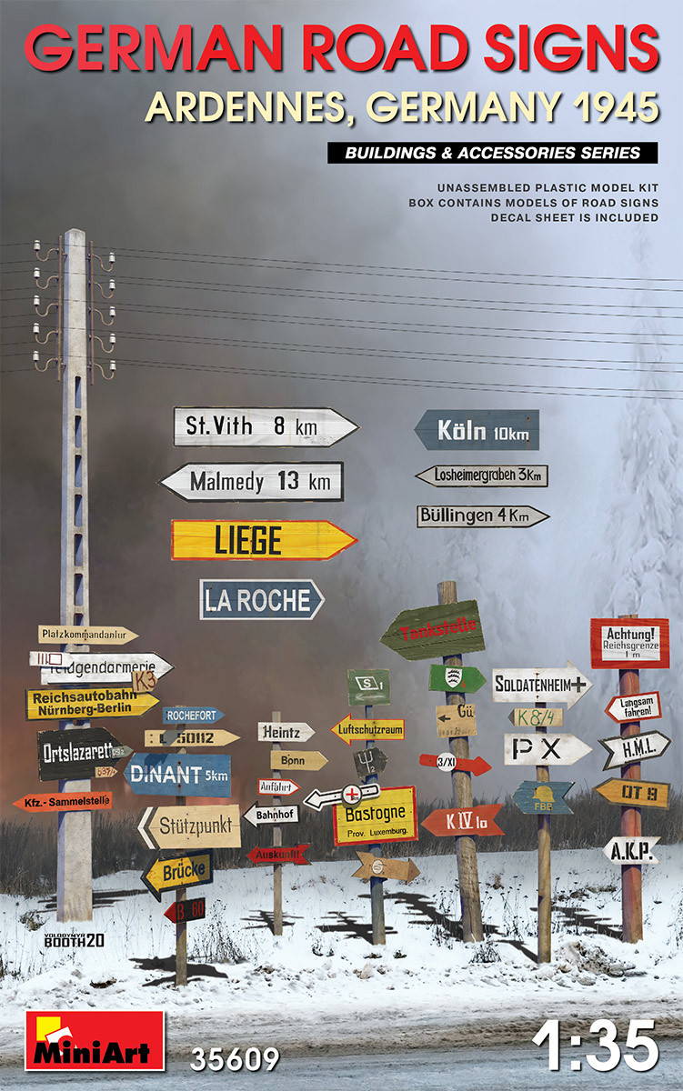 Дорожные знаки Второй мировой войны. Арденны, Германия 1945 г. 1/35 MINIART 35609