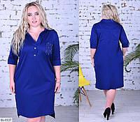 Строгое Платье-рубашка больших размеров синее SKL11-259268