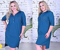 Строгое Платье-рубашка больших размеров цвет джинс SKL11-259272