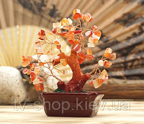 Дерево щастя з камінням Сердоліку,15 см