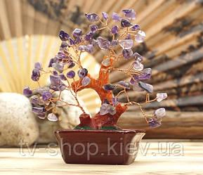 Дерево щастя з камінням аметисту,15 см