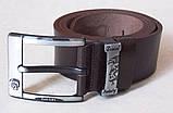 Шкіряний чоловічий коричневий ремінь DIESEL, фото 2