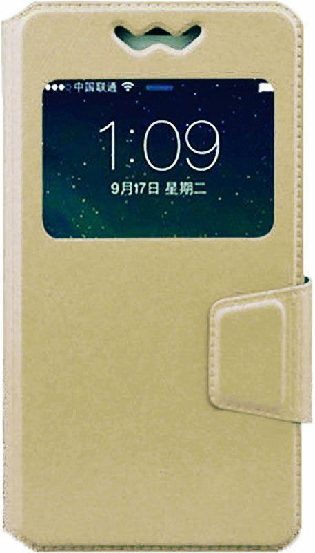 Чехол-книжка TOTO Book Silicone Slide Universal Cover With Window 4.8'-5.3' Gold #I/S