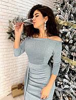 """Вечернее платье с разрезом """"Medea"""" - люрекс Серебристый, 44"""