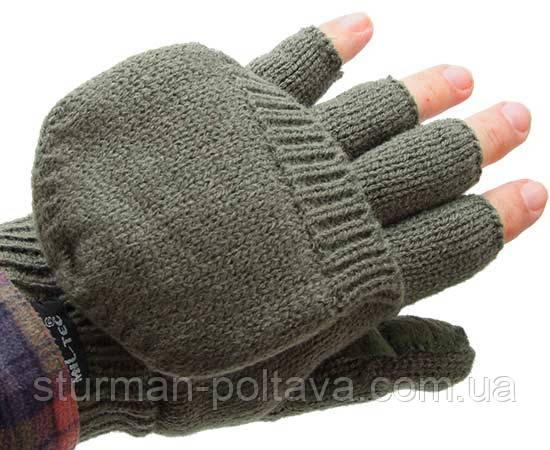 Перчатки -варежки акриловые с утеплителем олива