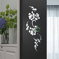Наклейка зеркальная на стену Серебро Цветок 58*22 см 5822 ЦС НС