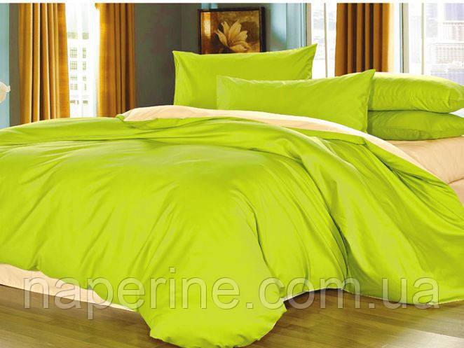 Постельное бельё ARYA Сатин однотонный - евро - зеленый/бежевый