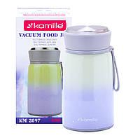 Термос пищевой обеденный для супа Kamille Фиолетовый 800мл из нержавеющей стали KM-2097FL
