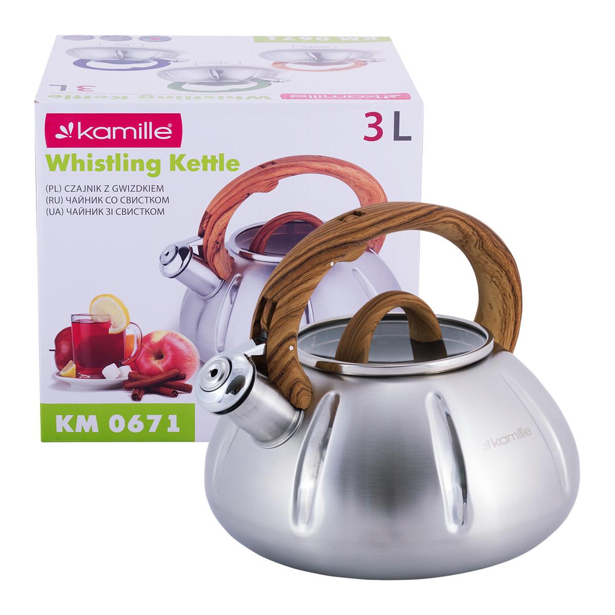 Чайник Kamille Дерево 3л из нержавеющей стали со свистком и стеклянной крышкой для индукции и газа KM-0671DR