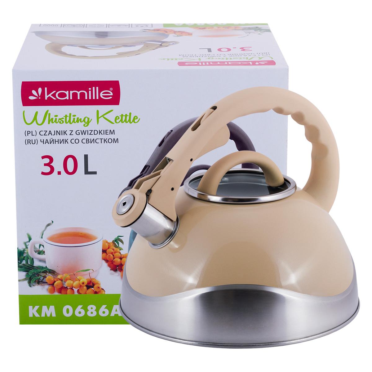 Чайник Kamille Кремовый 3л из нержавеющей стали со свистком и стеклянной крышкой KM-0686A