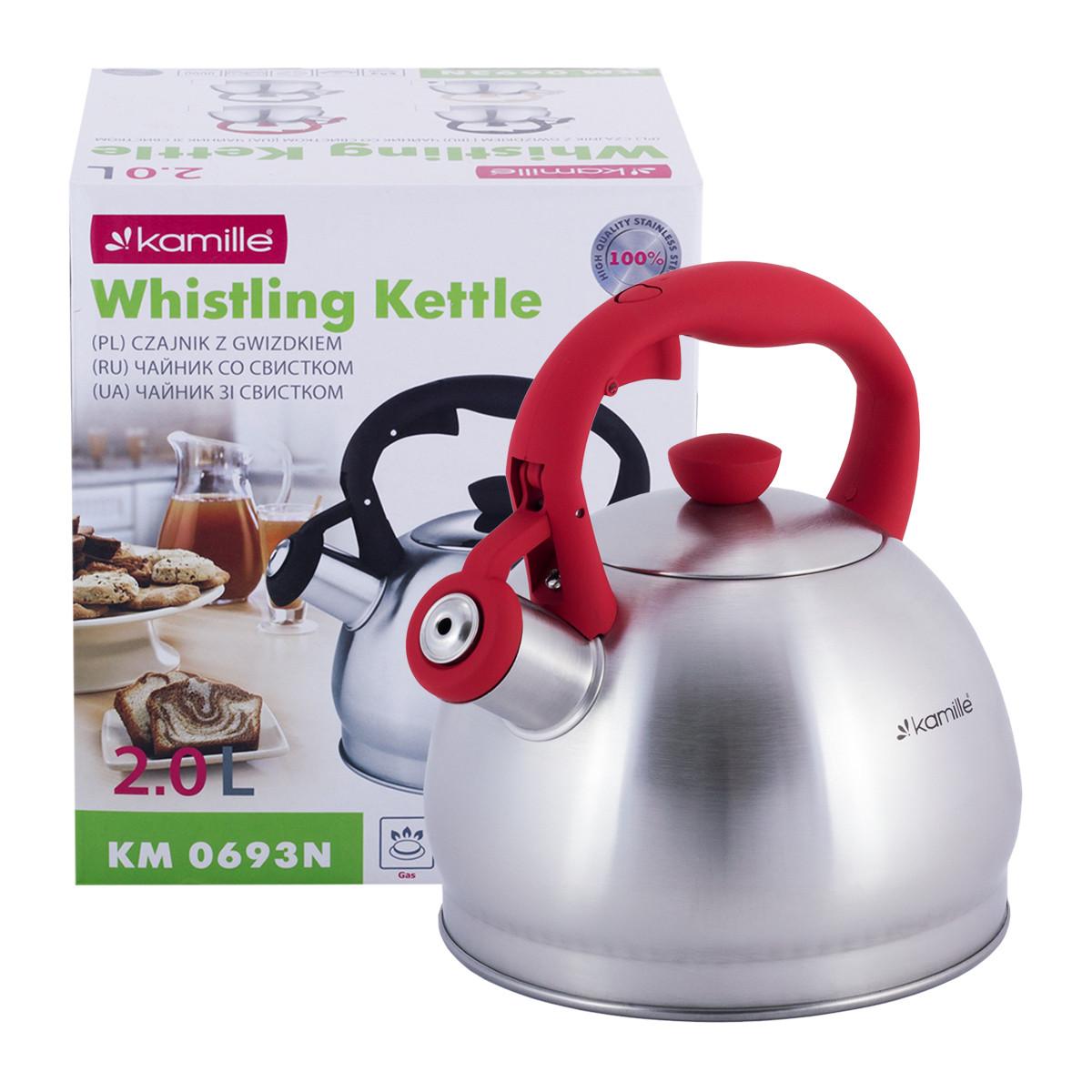 Чайник Kamille Красный 2л из нержавеющей стали со свистком KM-0693N