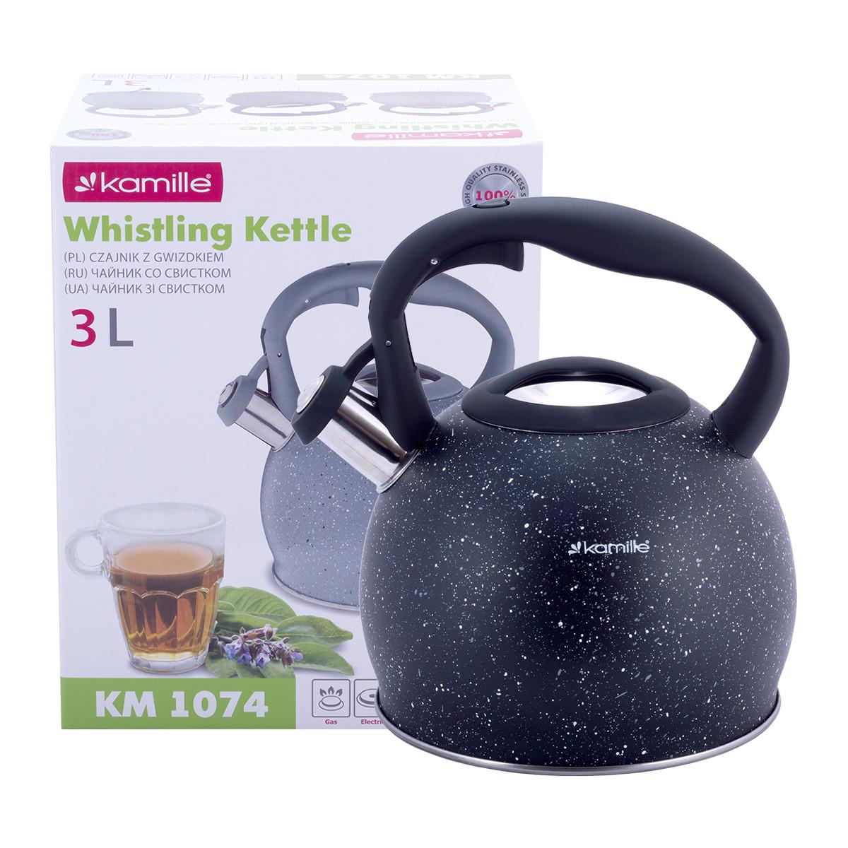 Чайник Kamille Черный 3л из нержавеющей стали со свистком и для индукции и газа KM-1074