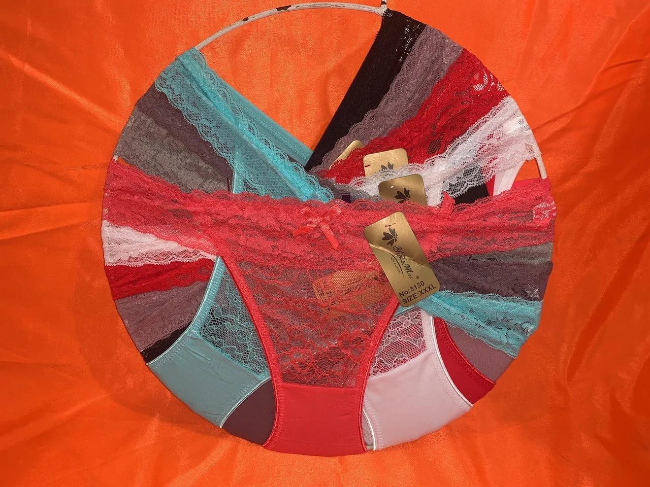 Женские трусики с кружевом Р.р 44-48 один цвет в упаковке