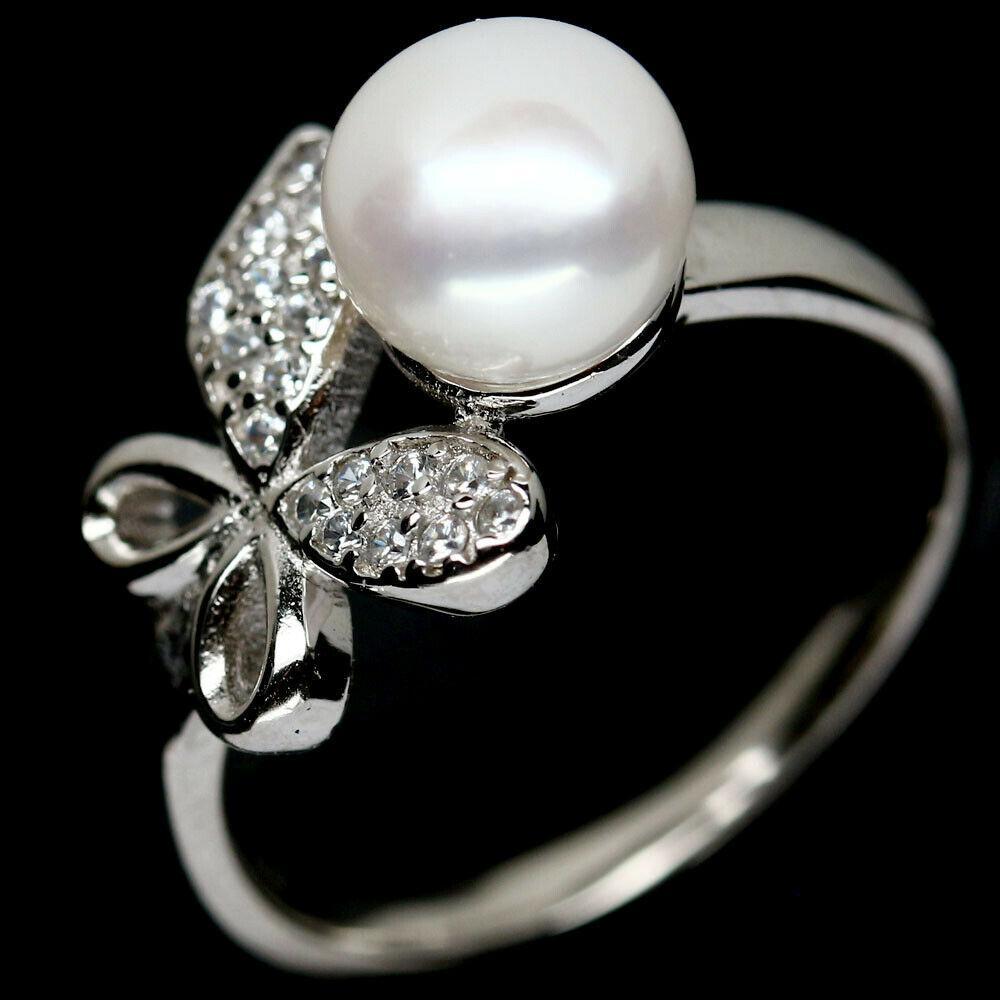 Срібне кільце з перлами білим, 2426КЦЖ