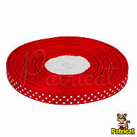 Лента репсовая 0.9 см длина 23 м бобина Красная в белый горох