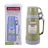 Термос Kamille Зеленый 1000мл пластиковый со стеклянной колбой KM-2023ZL, фото 1