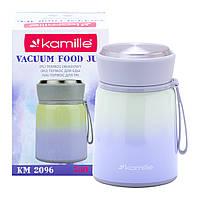 Термос пищевой обеденный для супа Kamille Фиолетовый 530мл из нержавеющей стали KM-2096FL