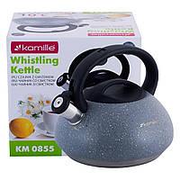 Чайник Kamille Сірий 3л з нержавіючої сталі зі свистком і бакелітовою ручкою для індукції і газу KM-0855, фото 1