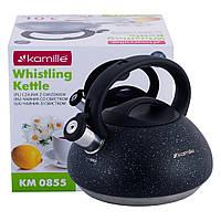 Чайник Kamille Черный 3л из нержавеющей стали со свистком и бакелитовой ручкой для индукции и газа KM-0855CH, фото 1