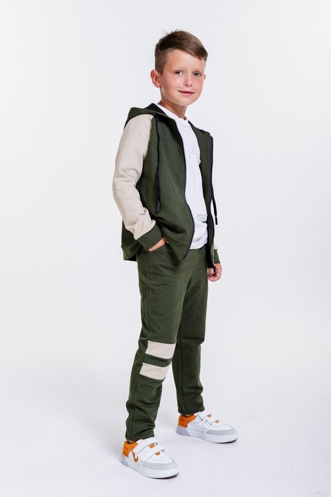 Детский спортивный костюм с кофтой на молнии (Хаки)