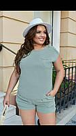 Летний женский костюм с шортами больших размеров хаки