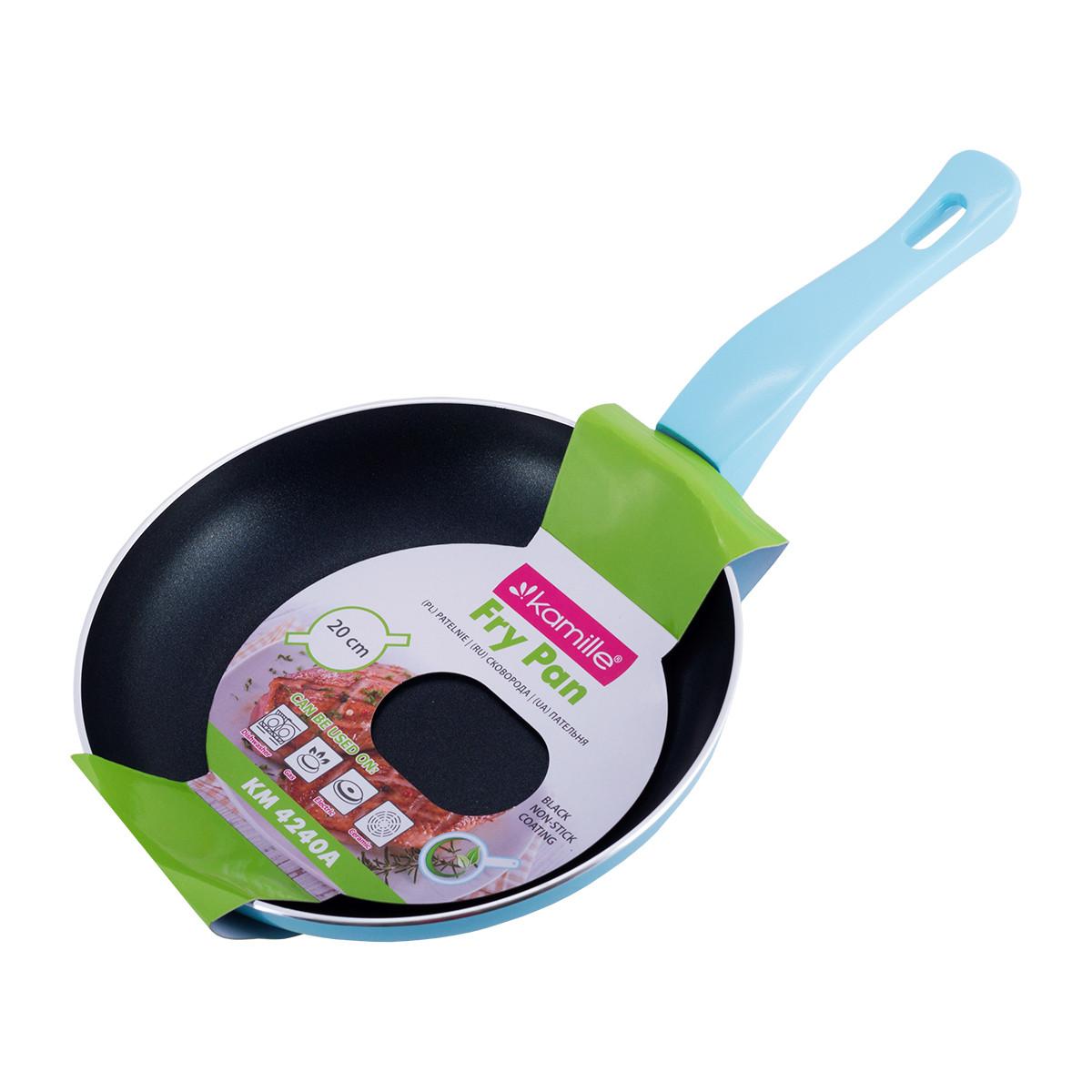 Сковорода Kamille Голубой 20см с антипригарным покрытием без крышки для индукции и газа KM-4240AG