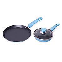 Набор Kamille Голубой из блинной сковороды 22см и маленькой сковороды 14см с антипригарным покрытием KM-0615B