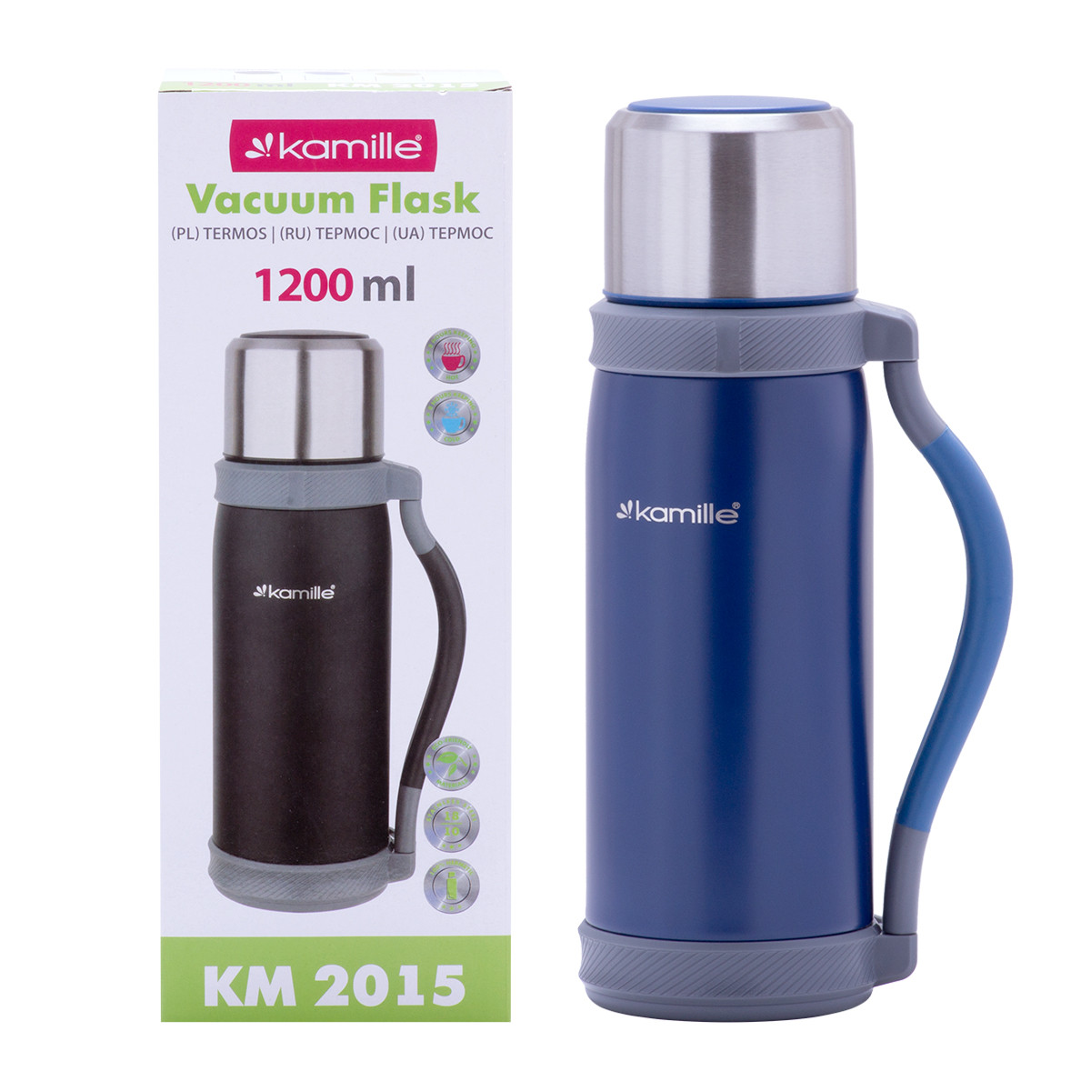 Термос Kamille Синій 1200мл з нержавіючої сталі KM-2015SI