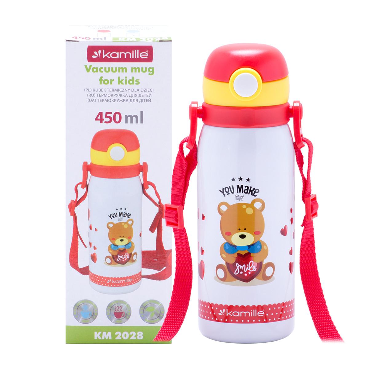 Термобутылка детская Kamille Красный 450мл из нержавеющей стали KM-2028KR