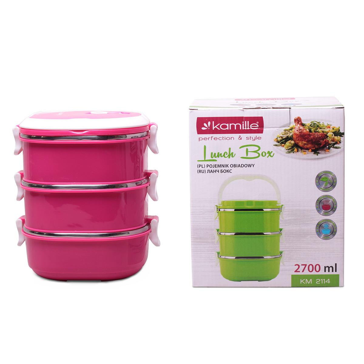 Ланч бокс тройной Kamille Розовый 2700мл для обедов из пластика и нержавеющей стали KM-2114RZ