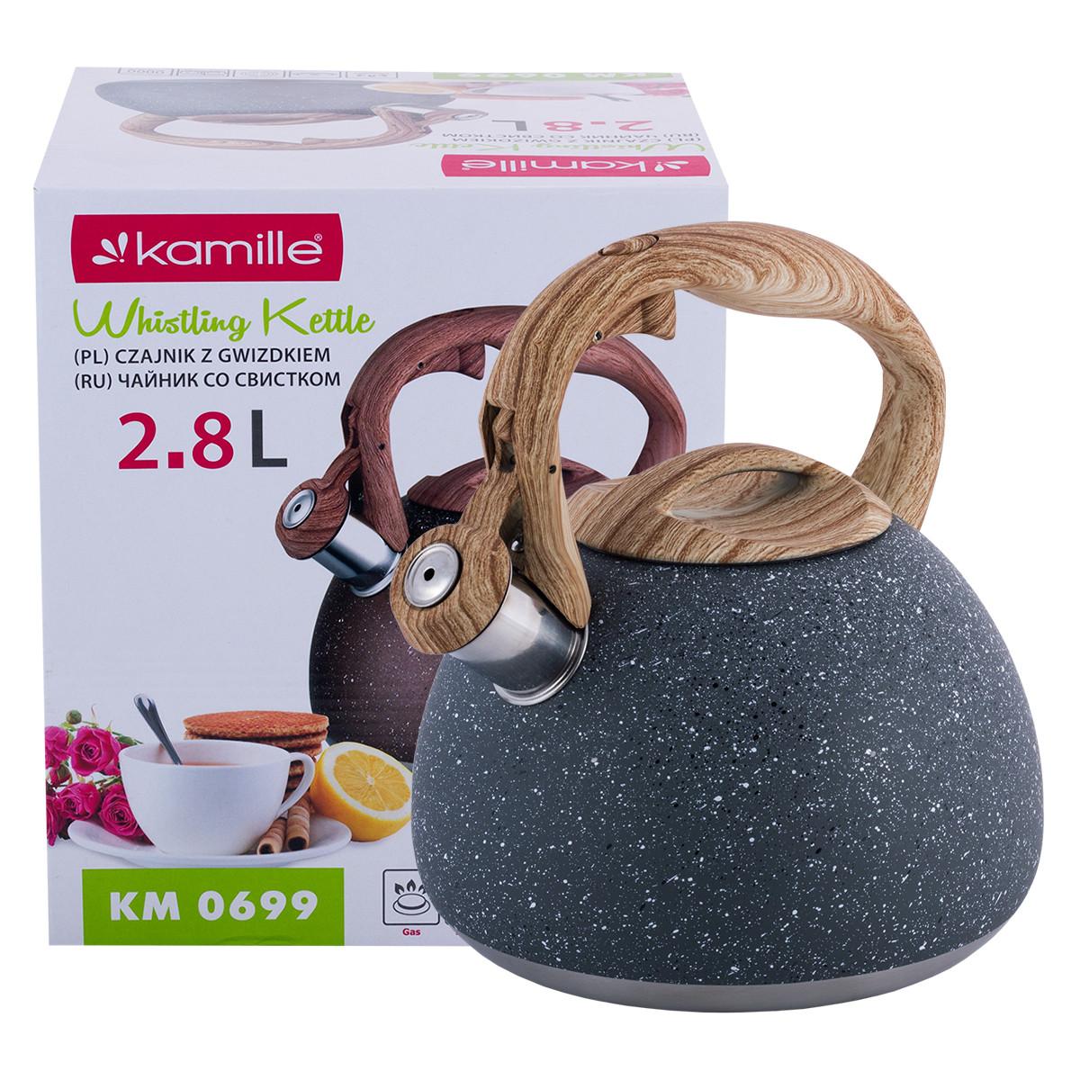 Чайник Kamille Темно-Серый 2.8л из нержавеющей стали со свистком и бакелитовой ручкой для индукции и газа KM-0699TS