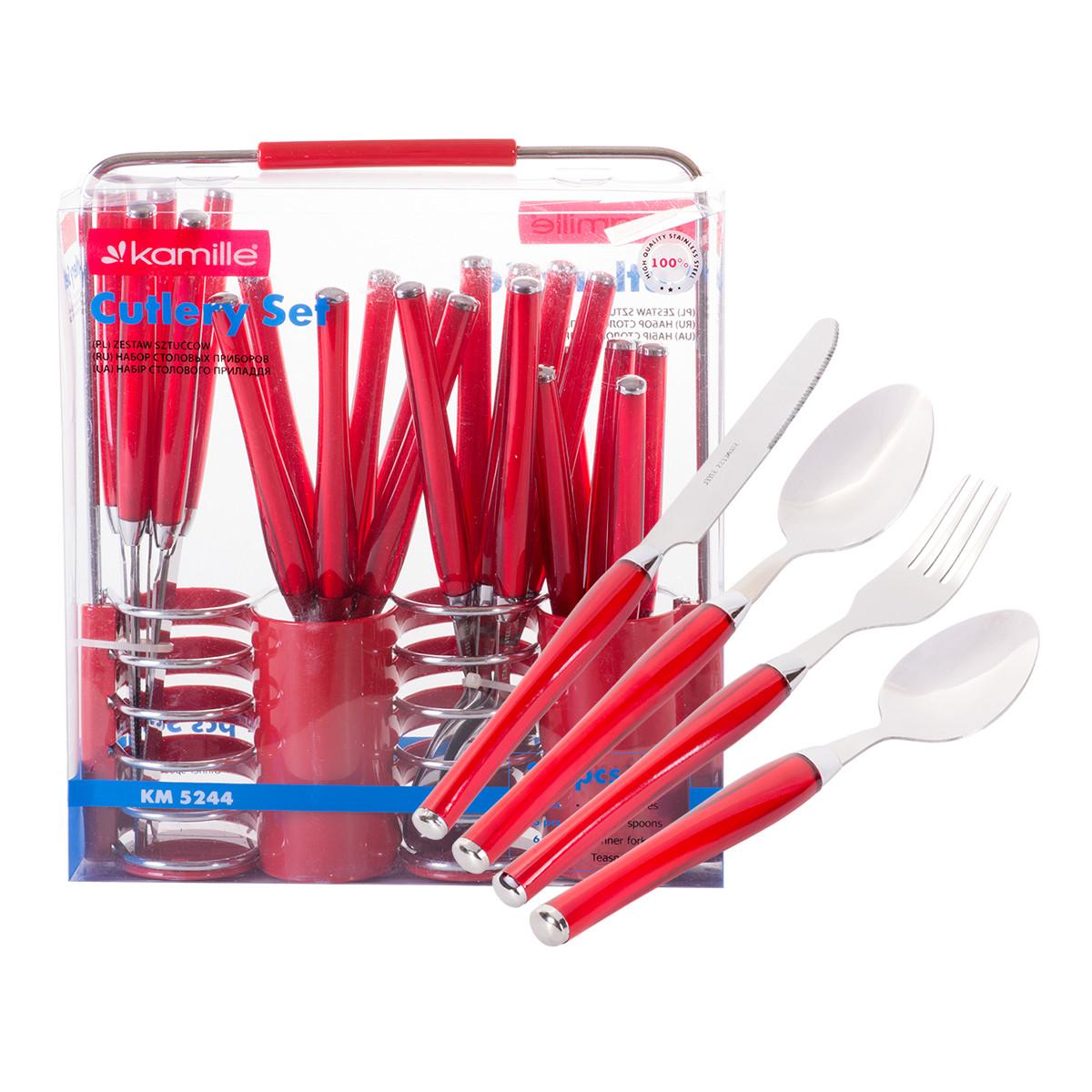 Набор столовых приборов Kamille Красный 25 предмета из нержавеющей стали с пластиковыми ручками и подставкой KM-5244KR