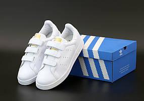 Женские кроссовки Adidas Stan Smith белые на липучках (Адидас Стен Смит)