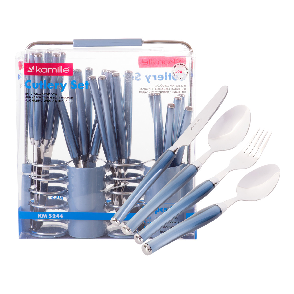 Набор столовых приборов Kamille Синий 25 предмета из нержавеющей стали с пластиковыми ручками и подставкой KM-5244