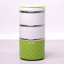 Ланч бокс Kamille Зеленый 1480мл для обедов из пластика и нержавеющей стали KM-2104ZL, фото 2