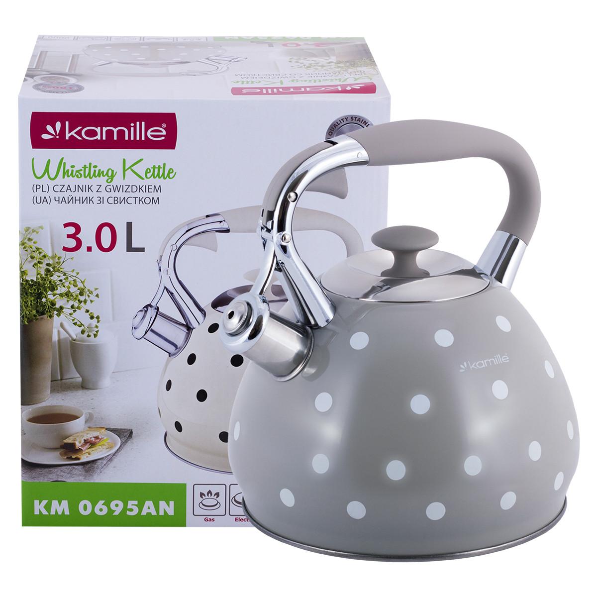 Чайник Kamille Серый 3л из нержавеющей стали со свистком и ручкой для индукции и газа KM-0695ANSR