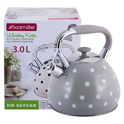 Чайник Kamille Серый 3л из нержавеющей стали со свистком и ручкой для индукции и газа KM-0695ANSR, фото 2
