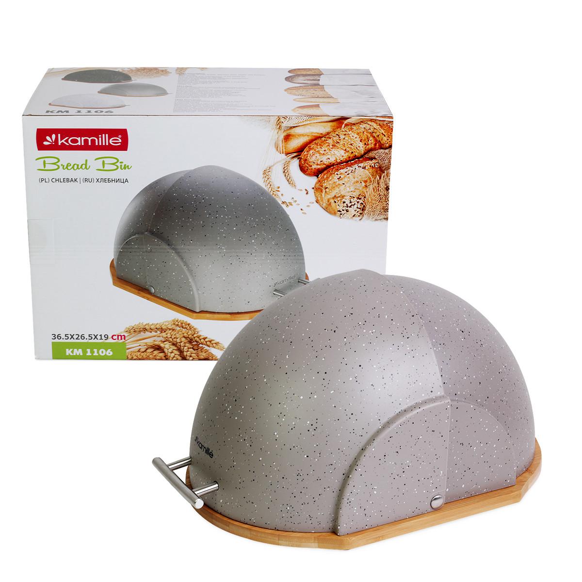 Хлебница Kamille Серый 38.5см из пластика с бамбуковой основой KM-1106SR