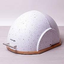 Хлебница Kamille Серый 38.5см из пластика с бамбуковой основой KM-1106SR, фото 3