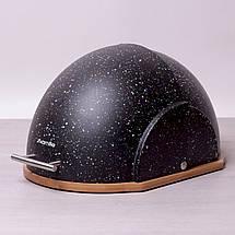 Хлебница Kamille Черный 38.5см из пластика с бамбуковой основой KM-1106CH, фото 2